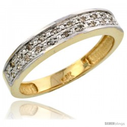 10k Gold Ladies' Diamond Band, w/ 0.10 Carat Brilliant Cut Diamonds, 5/32 in. (4mm) wide