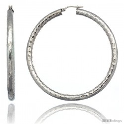 Surgical Steel 2 3/4 in Hoop Earrings Bamboo Embossed Pattern 5 mm Fat tube, feather weigh
