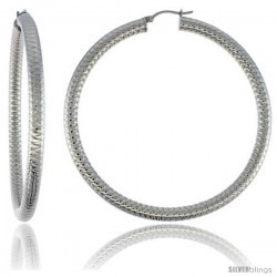 Surgical Steel Tube Hoop Earrings 3 in Round 5 mm Thick Tight Zigzag Pattern, feather weight