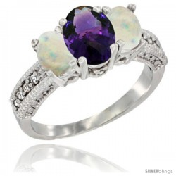 10K White Gold Ladies Oval Natural Amethyst 3-Stone Ring with Opal Sides Diamond Accent