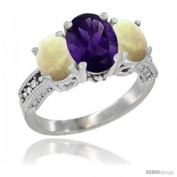 10K White Gold Ladies Natural Amethyst Oval 3 Stone Ring with Opal Sides Diamond Accent
