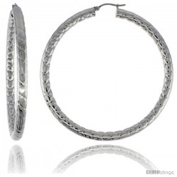 Surgical Steel Tube Hoop Earrings 3 in Round 4 mm wide Zigzag Pattern, feather weight