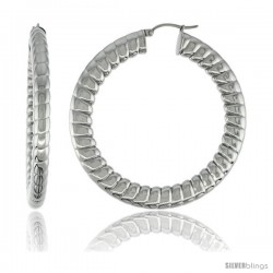 Surgical Steel Flat Tube Hoop Earrings 2 1/8 in round 5 mm thick Spiral Pattern, feather weight