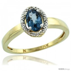 10k Yellow Gold Diamond Halo London Blue Topaz Ring 0.75 Carat Oval Shape 6X4 mm, 3/8 in (9mm) wide