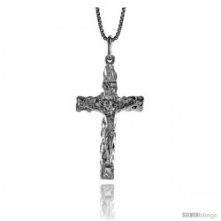 Sterling Silver Nugget Crucifix Pendant, 1 3/8 in