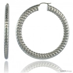 Surgical Steel 2 1/2 in Hoop Earrings Spiral Embossed Pattern 7 mm Fat Flat tube, feather weigh