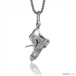 Sterling Silver Old Boot Pendant, 3/8 in Tall