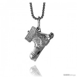 Sterling Silver Boot House Pendant, 1/2 in Tall