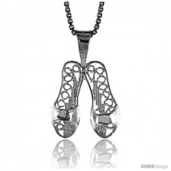 Sterling Silver Filigree Slippers Pendant, 1/2 in Tall