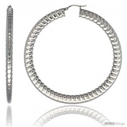 Surgical Steel 3 in Hoop Earrings Spiral Embossed Pattern 7 mm Fat Flat tube, feather weigh