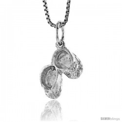 Sterling Silver Baby Booties Pendant, 1/2 in Tall