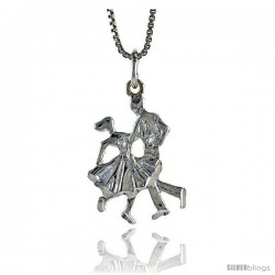 Sterling Silver Ballroom Dancers Pendant, 7/8 in Tall