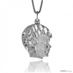 Sterling Silver Boy's Head Pendant, 7/8 in Tall