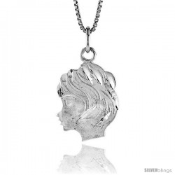 Sterling Silver Girl's Head Pendant, 7/8 in Tall