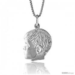 Sterling Silver Boy's Head Pendant, 3/4 in Tall