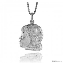 Sterling Silver Girl's Head Pendant, 3/4 in Tall