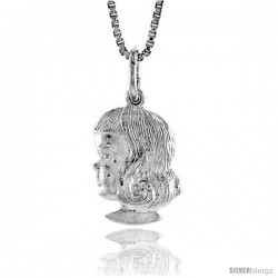 Sterling Silver Girl's Head Pendant, 1/2 in Tall