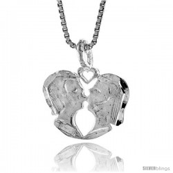 Sterling Silver Kissing Couple Pendant, 1/2 in Tall