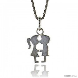 Sterling Silver Kissing Couple Pendant, 1/2 in Tall -Style 4p939