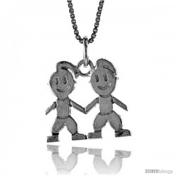 Sterling Silver Boy and Girl Pendant, 5/8 in Tall