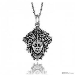 Sterling Silver Medusa Pendant, 1 in Tall