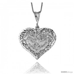 Sterling Silver Large Filigree Heart Pendant, 1 1/4 in Tall