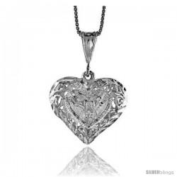 Sterling Silver Filigree Heart Pendant, 7/8 in Tall