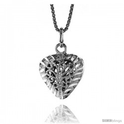 Sterling Silver Small Filigree Heart Pendant, 5/8 in Tall