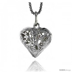 Sterling Silver Small Filigree Heart Pendant, 1/2 in Tall