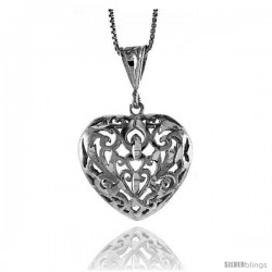 Sterling Silver Filigree Heart Pendant, 1 in Tall