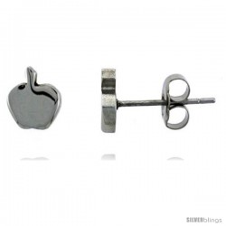 Small Stainless Steel Apple Stud Earrings, 3/8 in high