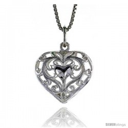 Sterling Silver Filigree Heart Pendant, 3/4 in Tall -Style 4p949