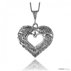 Sterling Silver Large Filigree Cut-out Heart Pendant, 1 3/8 in Tall