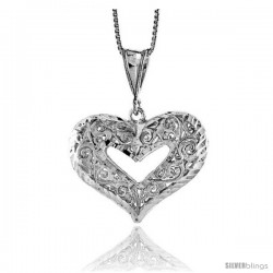 Sterling Silver Filigree Cut-out Heart Pendant, 7/8 in Tall