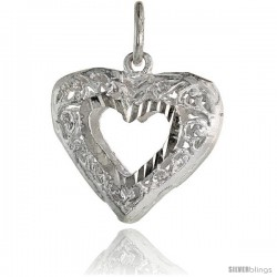 Sterling Silver Small Filigree Cut-out Heart Pendant, 3/4 in Tall