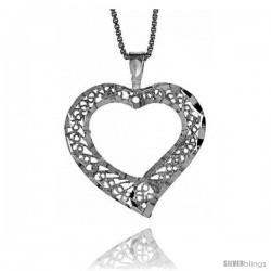 Sterling Silver Filigree Cut-out Heart Pendant, 7/8 in Tall -Style 4p953