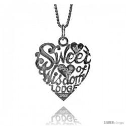 "Sterling Silver ""Sweet Heart of Wisdom Lodge"" Pendant, 7/8 in Tall"