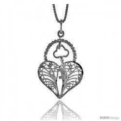 Sterling Silver Filigree Key to My Heart Pendant, 1 1/16 in Tall