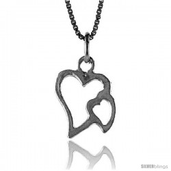Sterling Silver Double Cut-out Heart Pendant, 5/8 in Tall