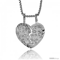 Sterling Silver Small Best Friend Pendant, 1/2 in Tall