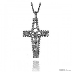 Sterling Silver Crucifix Pendant, 1 1/8 in -Style 4p96