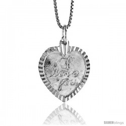 Sterling Silver I Love You Pendant, 3/4 in Tall
