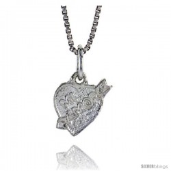 Sterling Silver Mi Amor Pendant, 5/16 in Tall