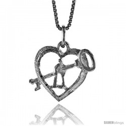 Sterling Silver Key to My Heart Pendant, 5/8 in Tall