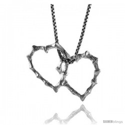 Sterling Silver Double Floating Hearts 3/4 in Tall. -Style 4p970