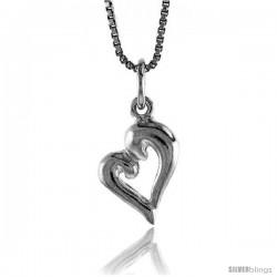 Sterling Silver Open Heart Pendant, 5/8 in Tall