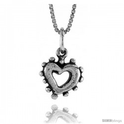Sterling Silver Small Open Heart Pendant, 1/2 in Tall