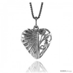 Sterling Silver Heart Pendant, 3/4 in Tall
