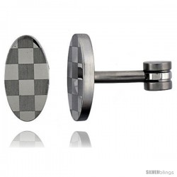 Stainless Steel Oval Shape, Cufflinks with Checkered pattern