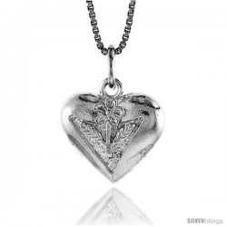 Sterling Silver Heart Pendant, 1/2 in Tall